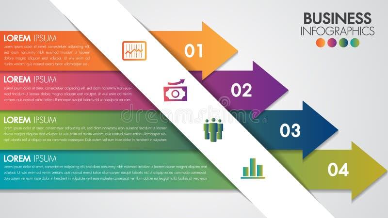 O molde moderno mínimo do projeto de Infographics com ícones coloridos do vetor e do mercado do conceito de 4 opções pode ser usa ilustração do vetor