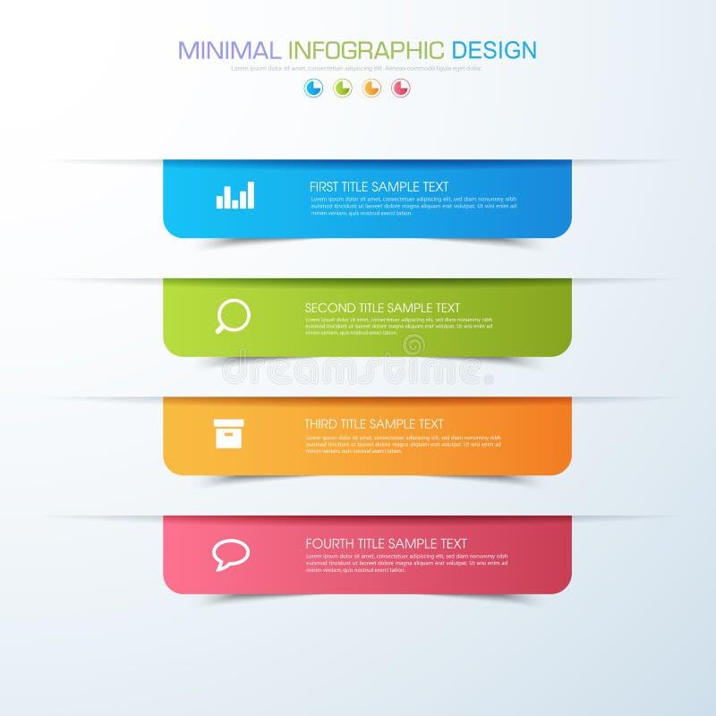 O molde que infographic do negócio o conceito é etapa da opção do círculo com ícone da cor completa pode ser usado para a carta d ilustração stock