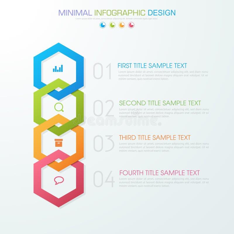 O molde que infographic do negócio o conceito é etapa da opção do círculo com ícone da cor completa pode ser usado para a carta d ilustração do vetor