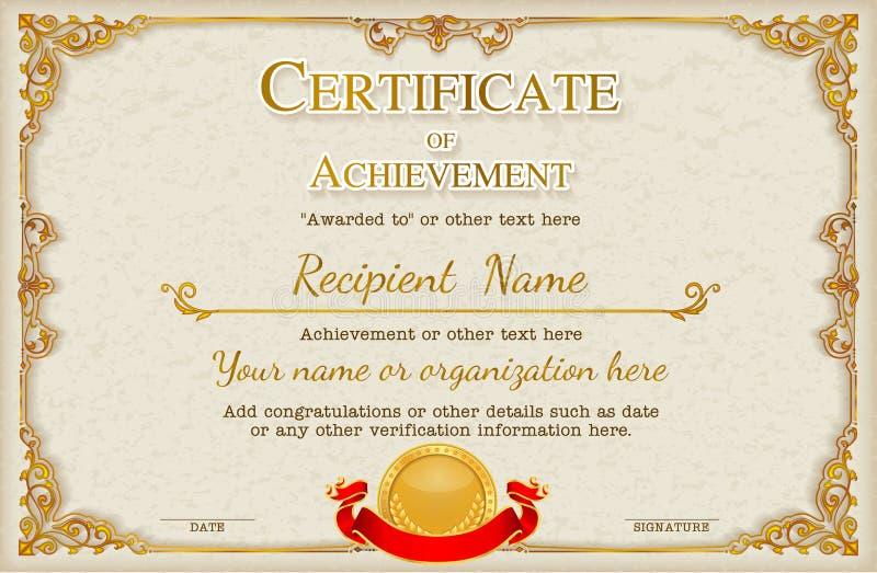 O molde retro do projeto do fundo do certificado do quadro do vintage, ouro detalhou o certificado ilustração stock