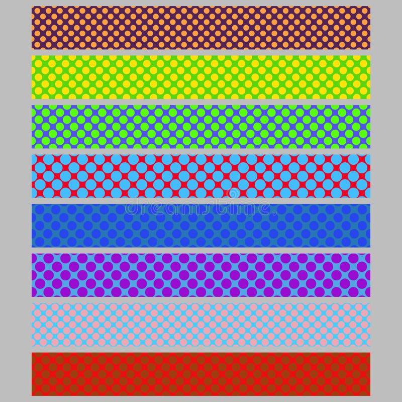 O molde sem emenda do fundo da bandeira da Web do teste padrão de às bolinhas da cor ajustou - a coleção abstrata do projeto gráf ilustração do vetor