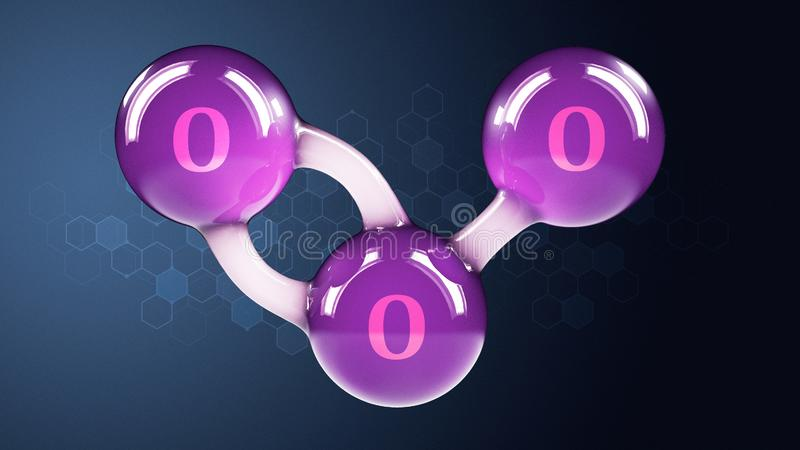 O3 molekyl f?r ozon som 3d isoleras p? abstrakt bakgrund vektor illustrationer