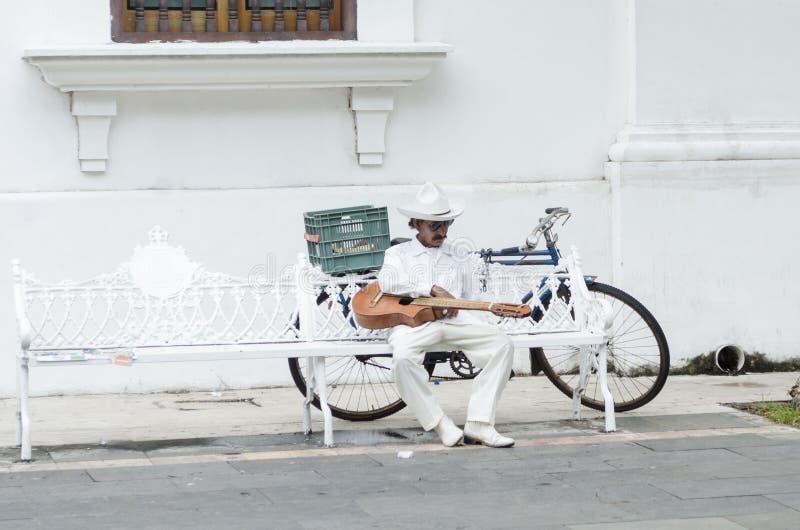 O molho do músico com jarocho tradicional veste o descanso em um banco fotos de stock royalty free