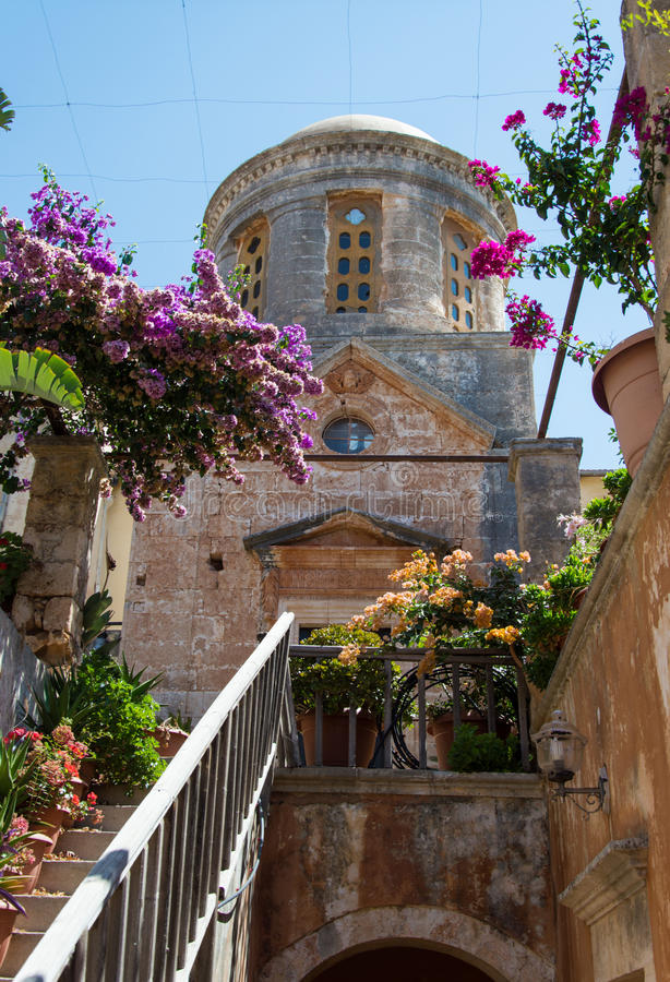 O monastério de Agia Triada na Creta, Grécia foto de stock royalty free