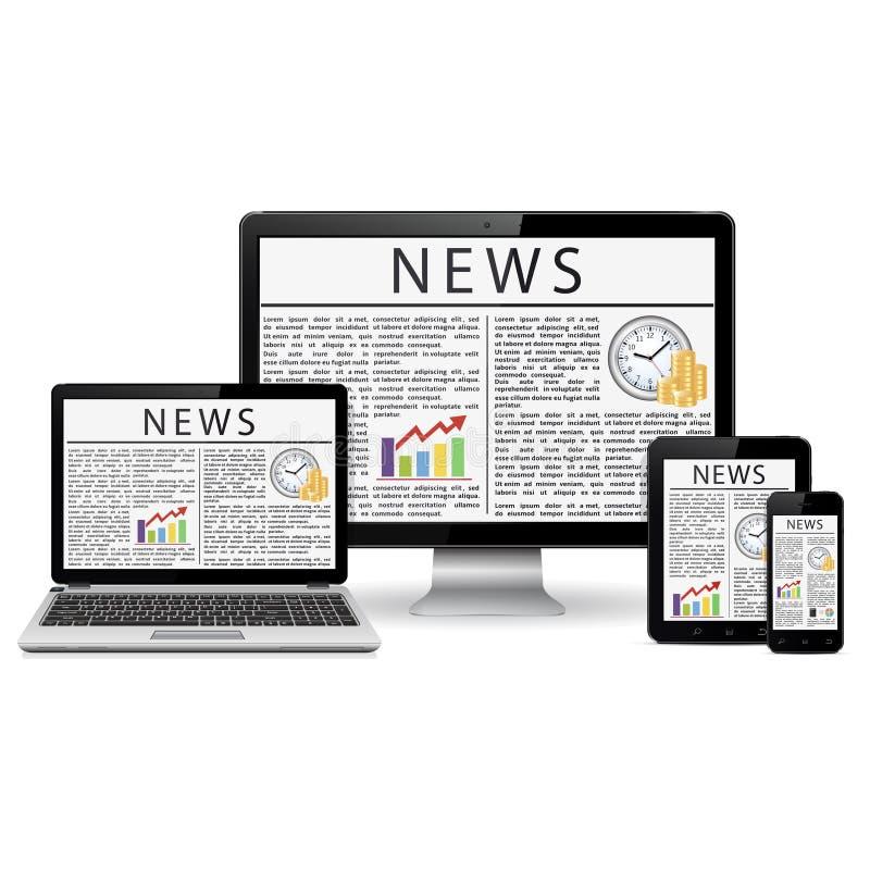 O monitor, o portátil, a tabuleta e o telefone modernos do desktop com notícia situam a tela ilustração stock