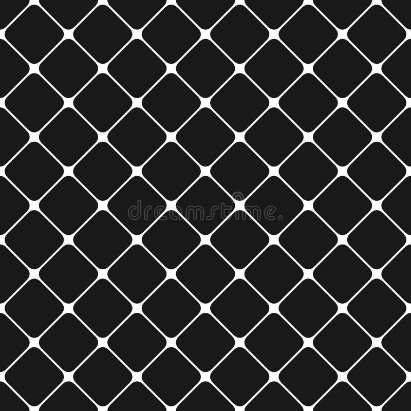 O monochrome sem emenda arredondou o fundo quadrado do teste padrão de grade - projeto gráfico dos quadrados diagonais ilustração royalty free