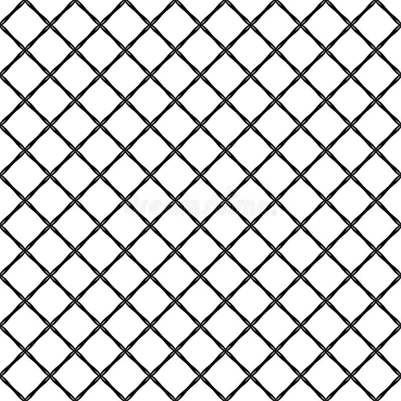 O monochrome sem emenda arredondou o fundo quadrado do teste padrão de grade - projeto gráfico dos quadrados diagonais ilustração stock