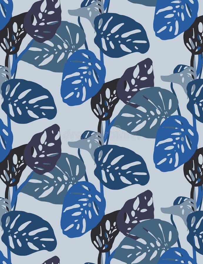 O monstera azul sem emenda deixa o teste padrão, humor tropical em tons azuis brilhantes ilustração do vetor