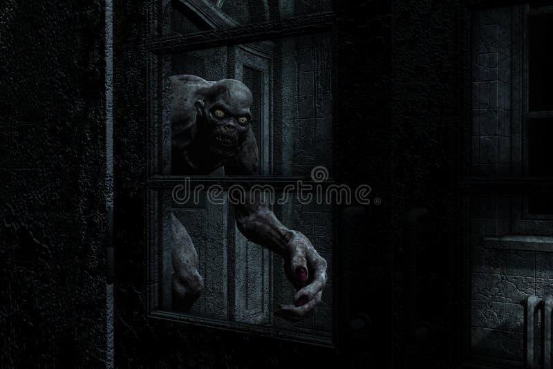 O monstro assustador sai da obscuridade ilustração royalty free