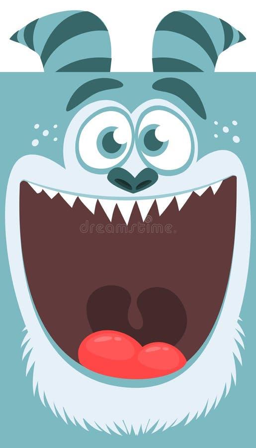 O monstro azul do vetor de Dia das Bruxas com dentes grandes e a boca abriram isolado largamente ilustração do vetor
