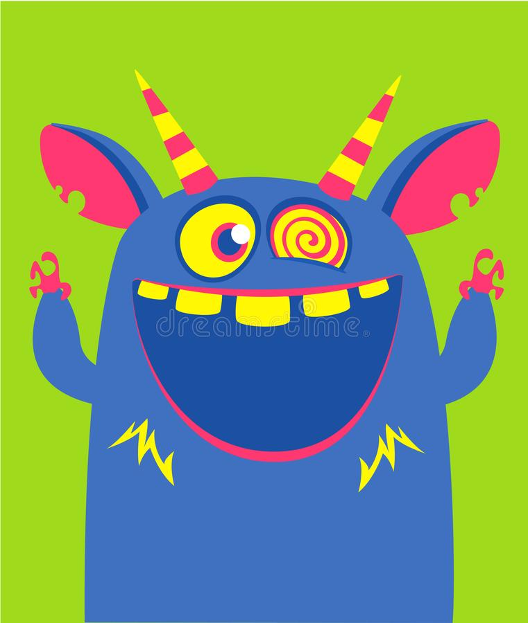 O monstro azul e horned do vetor de Dia das Bruxas com dentes grandes e a boca abriram isolado largamente ilustração do vetor