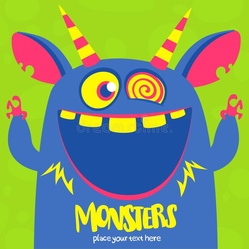 O monstro azul e horned do vetor de Dia das Bruxas com dentes grandes e a boca abriram isolado largamente ilustração royalty free