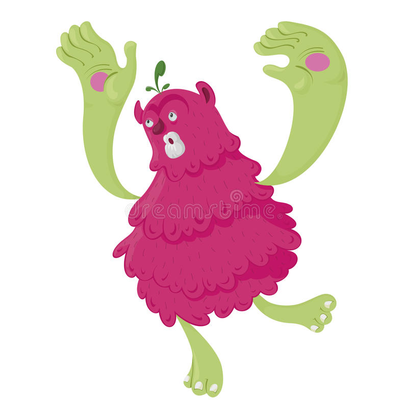 Monstro Cor-de-rosa Running Foto de Stock Royalty Free