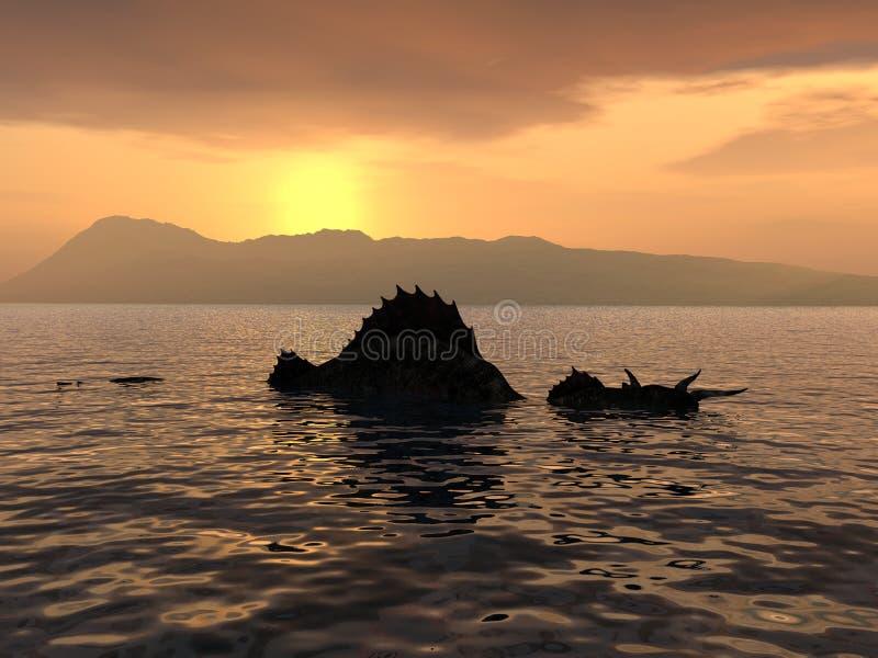 O monstro de Loch Ness ilustração royalty free