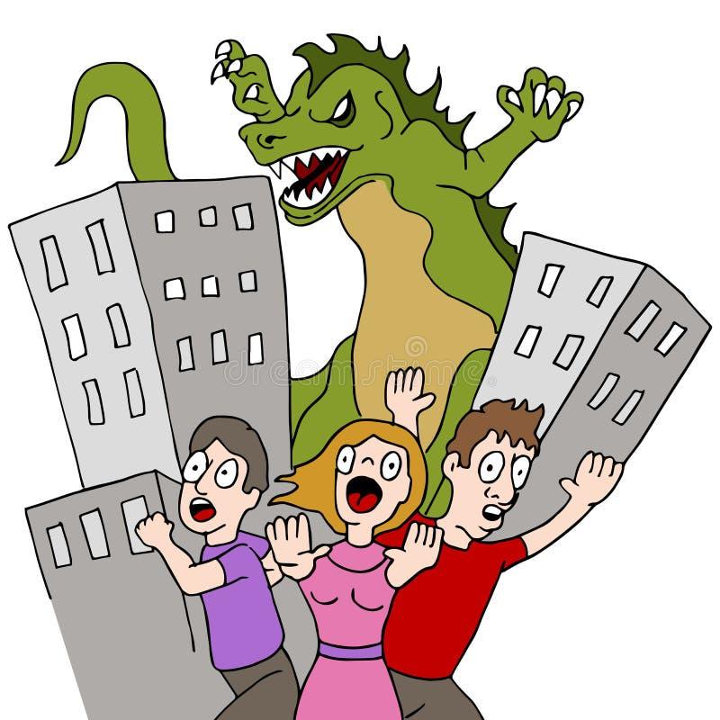 O monstro destrói a cidade ilustração royalty free