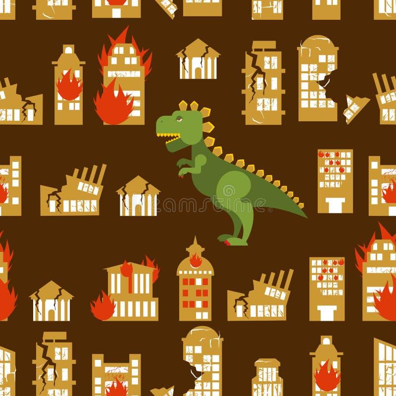 O monstro destrói a cidade Rua e casa quebradas Godzilla na emenda ilustração royalty free