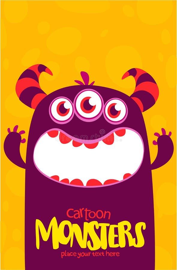 O monstro do vetor de Dia das Bruxas com os três dentes grandes dos olhos e a boca abriram isolado largamente ilustração royalty free