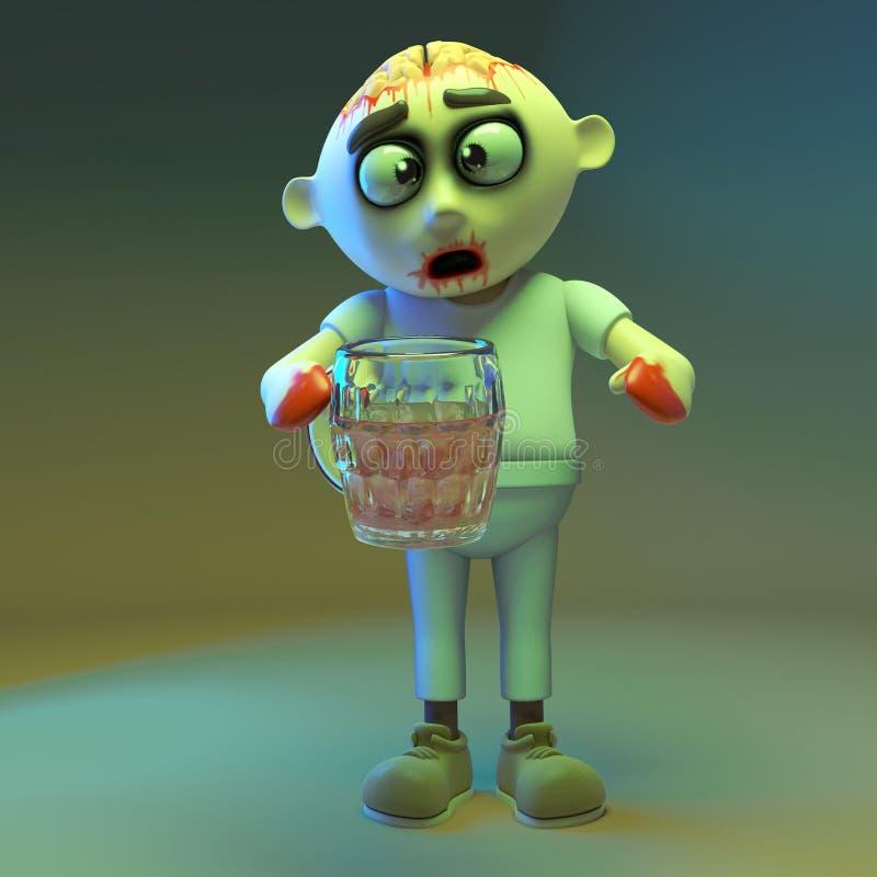 O monstro do zombi do tempo do partido bebe uma outra pinta da cerveja, ilustração 3d ilustração royalty free
