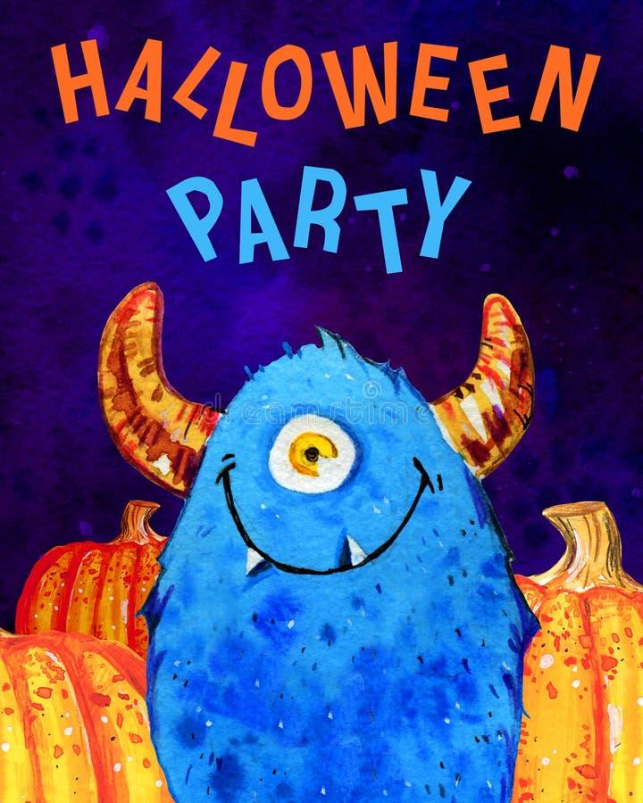 O monstro e as abóboras com um só olho pequenos dos desenhos animados com ` Dia das Bruxas do título party o ` Ilustração tirada  ilustração do vetor