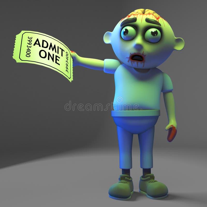 O monstro excitado do zombi tem um bilhete de admissão à mostra, ilustração 3d ilustração do vetor