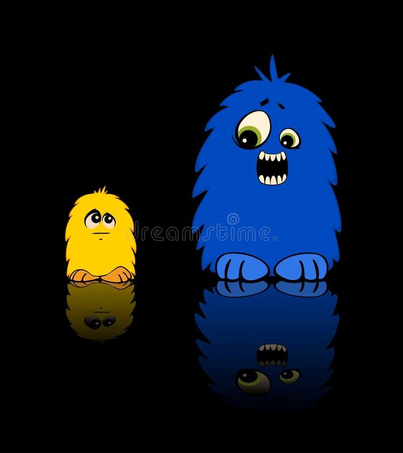 O monstro grande amedronta um monstro pequeno amarelo ilustração do vetor