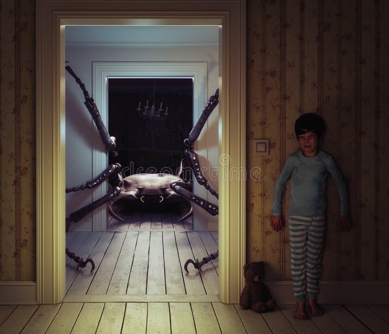 O monstro no rhe caçoa a sala ilustração do vetor