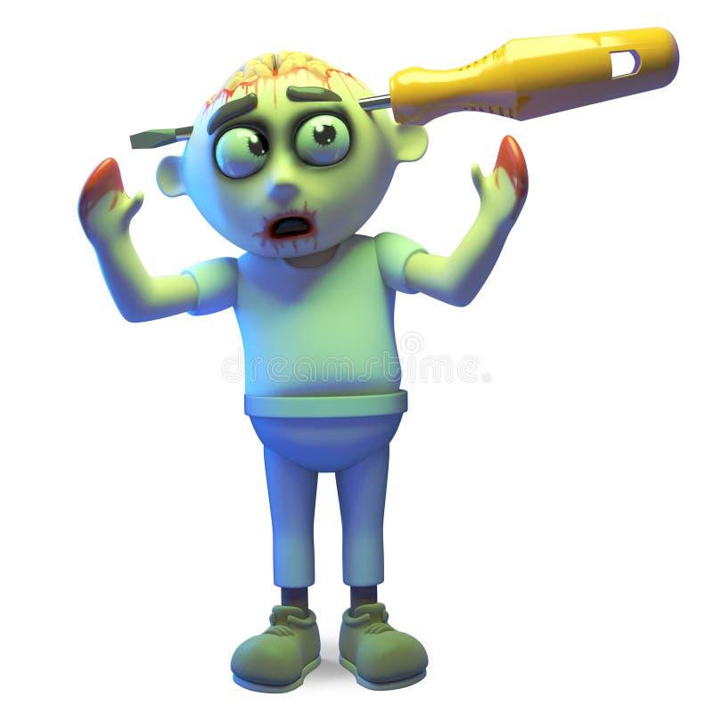 O monstro pobre do zombi teve um acidente com uma chave de fenda, ilustração 3d ilustração royalty free