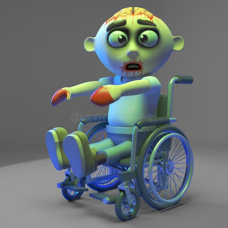 O monstro pobre do zombi do vivo é muito lento em sua cadeira de rodas, ilustração 3d ilustração stock