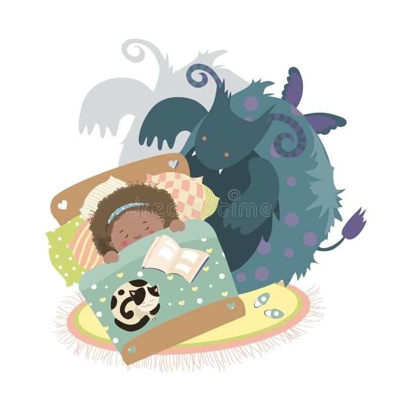 O monstro senta-se na cama e na menina amedrontada ilustração royalty free
