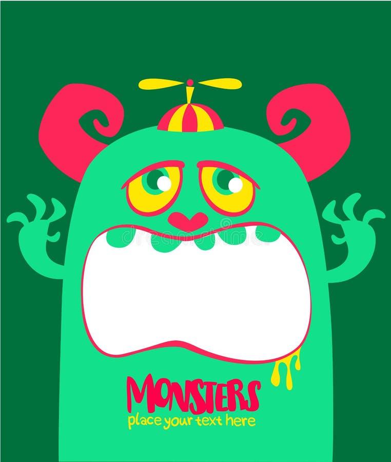 O monstro verde e viscoso do vetor de Dia das Bruxas com dentes grandes e a boca abriram isolado largamente ilustração royalty free
