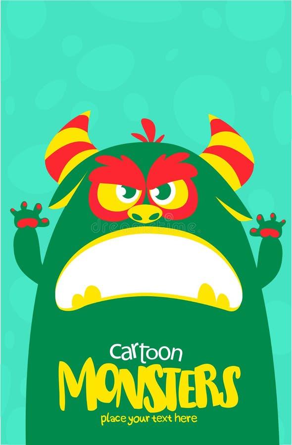 O monstro verde e viscoso do vetor de Dia das Bruxas com dentes grandes e a boca abriram isolado largamente ilustração do vetor