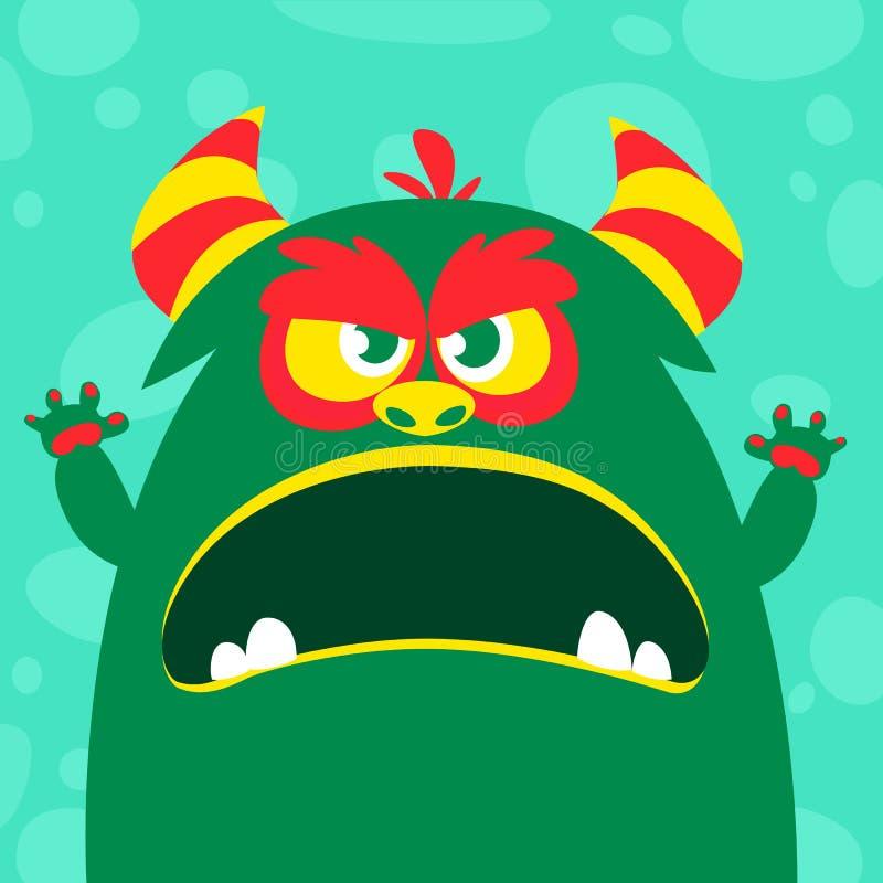 O monstro verde e viscoso do vetor de Dia das Bruxas com dentes grandes e a boca abriram isolado largamente ilustração stock