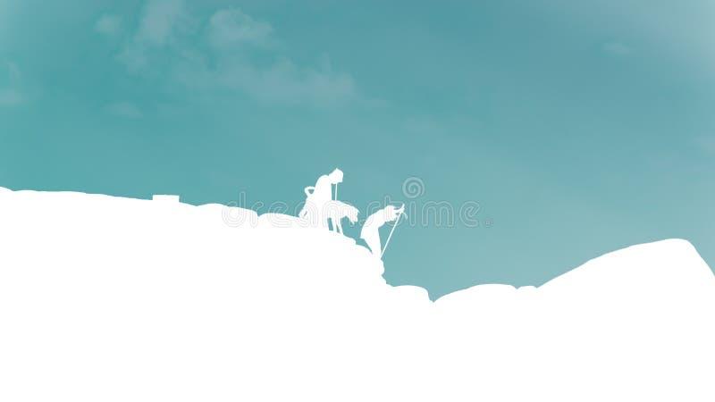 O montanhista de rocha da silhueta do homem, da mulher e do cão do viajante está na parte superior imagem de stock royalty free
