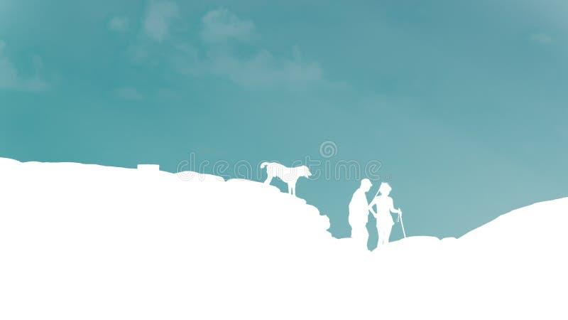 O montanhista de rocha da silhueta do homem, da mulher e do cão do viajante está na parte superior ilustração stock