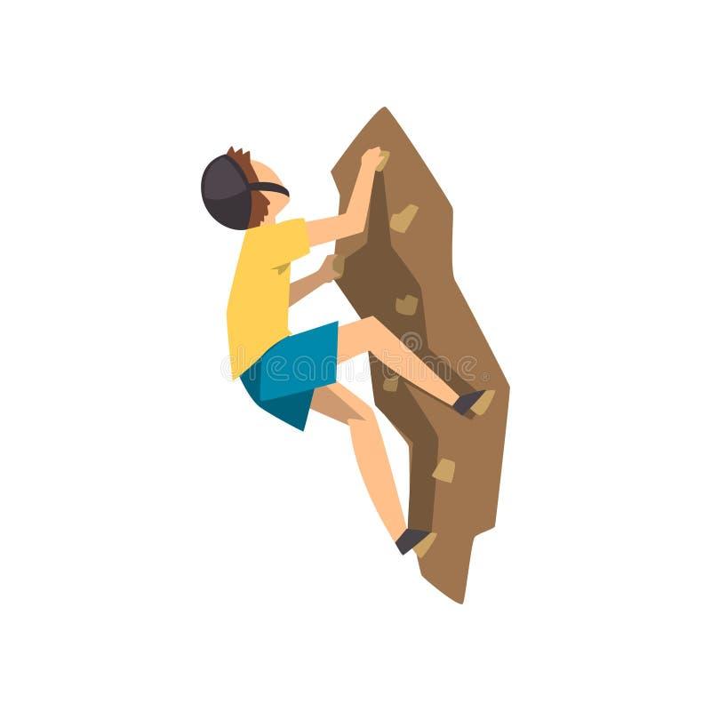 O montanhista masculino na montanha de escalada da rocha do capacete protetor, o esporte extremo e o conceito da atividade de laz ilustração stock
