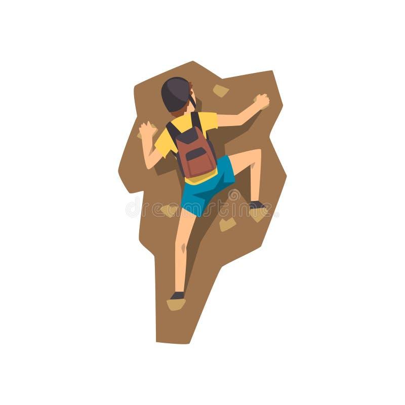 O montanhista na montanha de escalada da rocha do capacete protetor, o esporte extremo e o conceito da atividade de lazer vector  ilustração royalty free