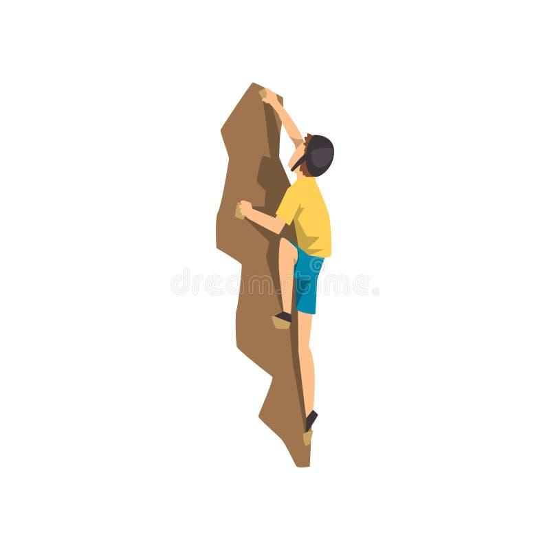 O montanhista na parede de escalada da rocha do capacete protetor, o esporte extremo e o conceito da atividade de lazer vector a  ilustração stock