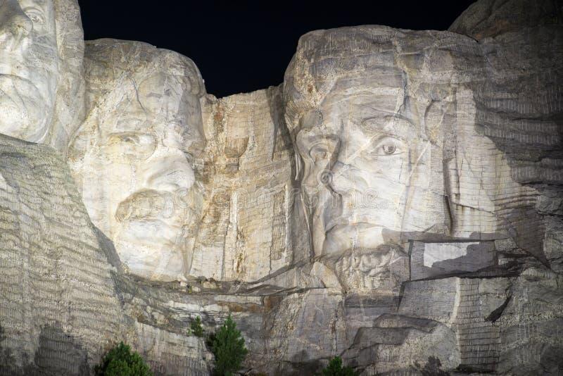O Monte Rushmore na noite foto de stock royalty free