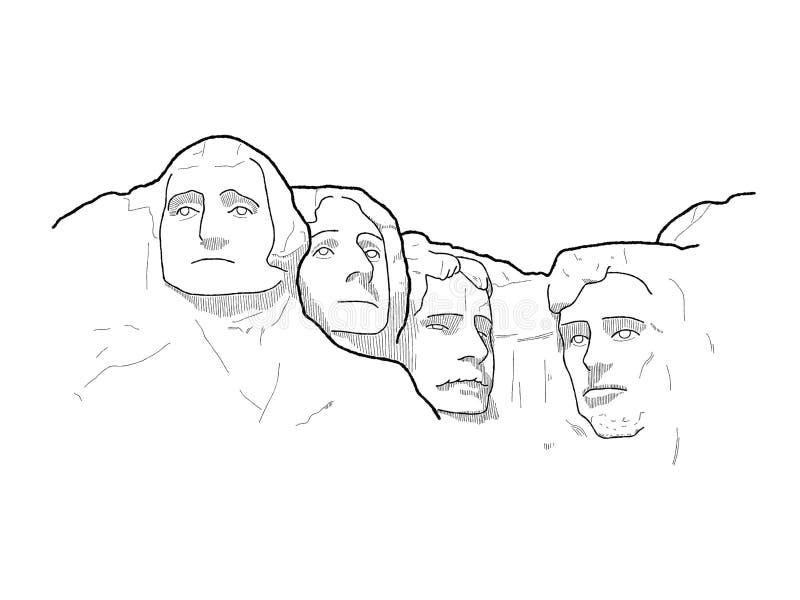 O Monte Rushmore, peça fundamental, South Dakota, Estados Unidos: Arte tirada mão dos desenhos animados da ilustração do vetor do ilustração royalty free