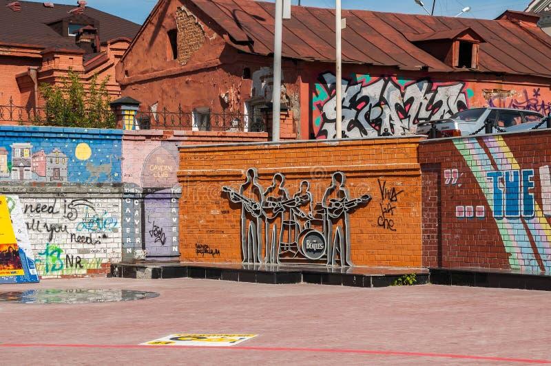 O monumento ao Beatles em Ekaterinburg, Rússia fotos de stock