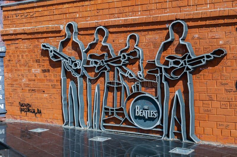 O monumento ao Beatles em Ekaterinburg, Rússia - opinião do close up fotos de stock royalty free