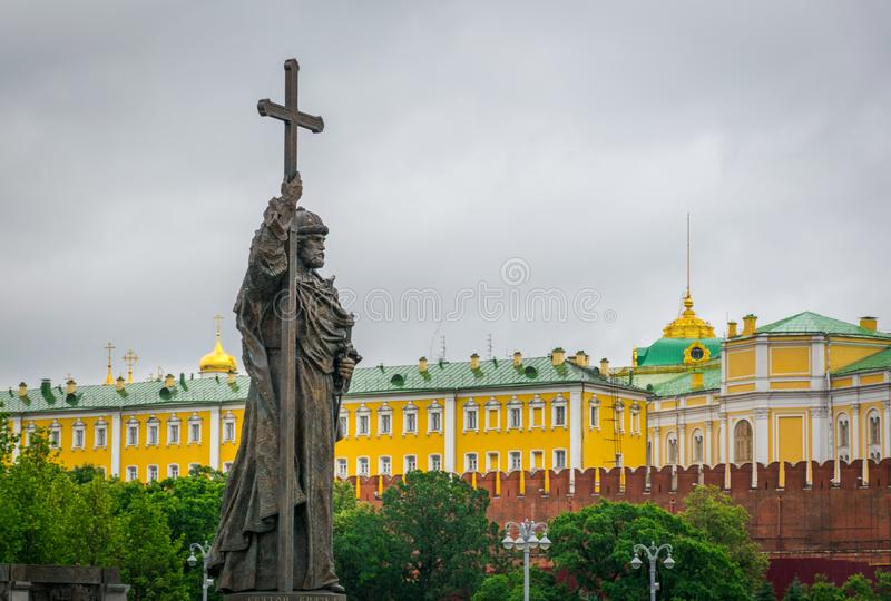 O monumento ao príncipe Vladimir em Moscou, Rússia fotografia de stock royalty free