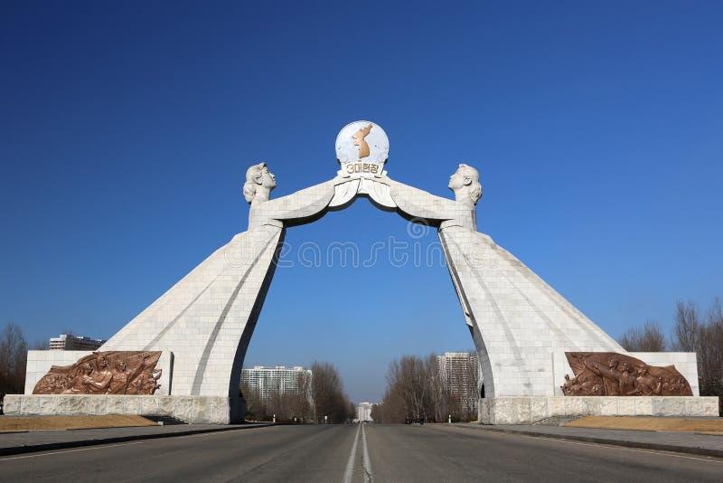 O Monumento Da Reunificação Em Pyongyang Imagens de Stock