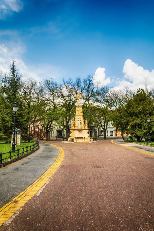 O monumento da trindade santamente na cidade de Subotica, Sérvia fotografia de stock royalty free