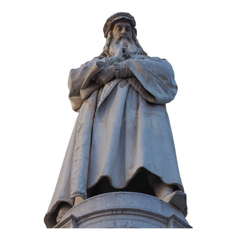 O monumento de Leonardo da Vinci em Milão isolou-se sobre o branco imagens de stock