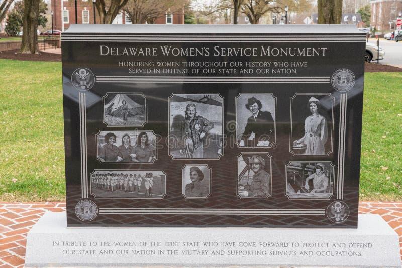 O monumento do serviço das mulheres de Delaware é dedicado às mulheres militares do estado imagem de stock