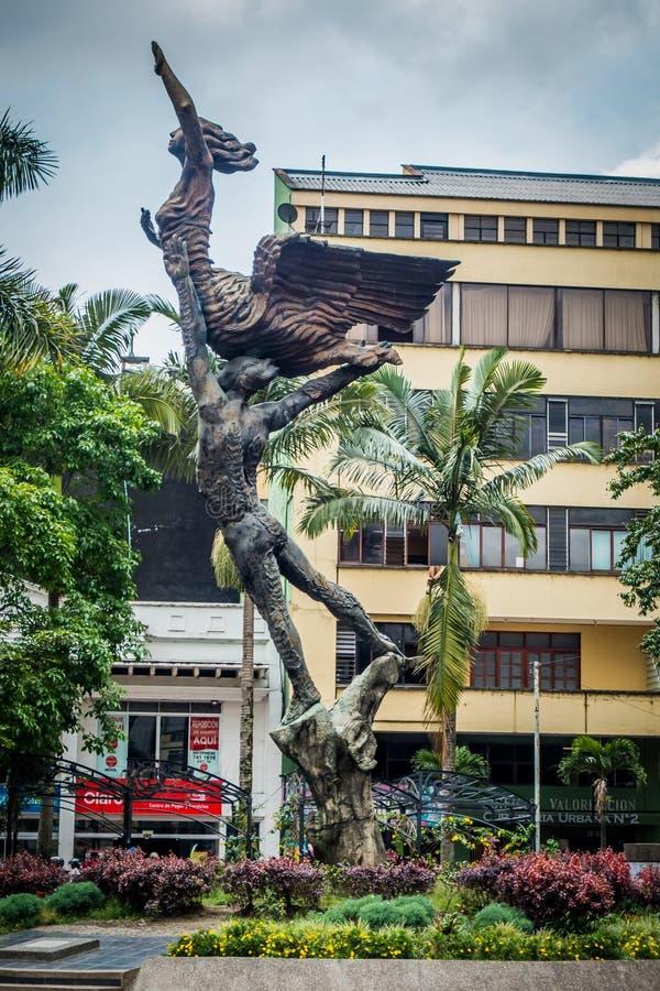 O monumento importante da cidade a Simon Bolivar localizou fotos de stock