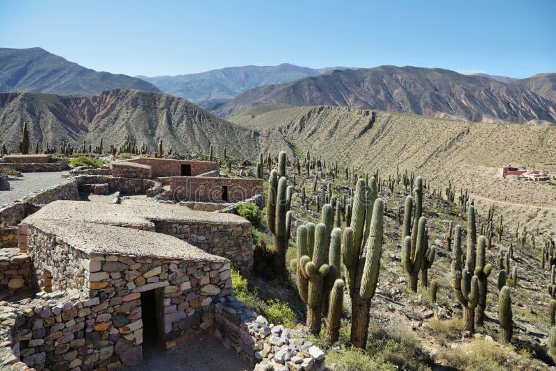 O monumento nacional da fortificação do pre-inca de Pucara de Tilcara fotos de stock royalty free