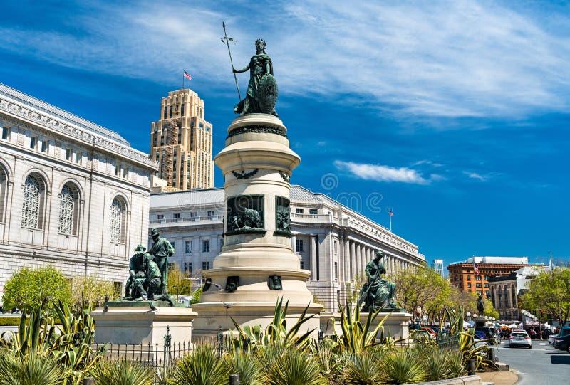 O Monumento Pioneiro em São Francisco, Califórnia fotografia de stock