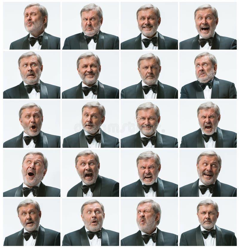 O mosaico de expressar do homem de negócios e de emoções diferentes O homem de negócios farpado com o terno com os 20 diferentes foto de stock